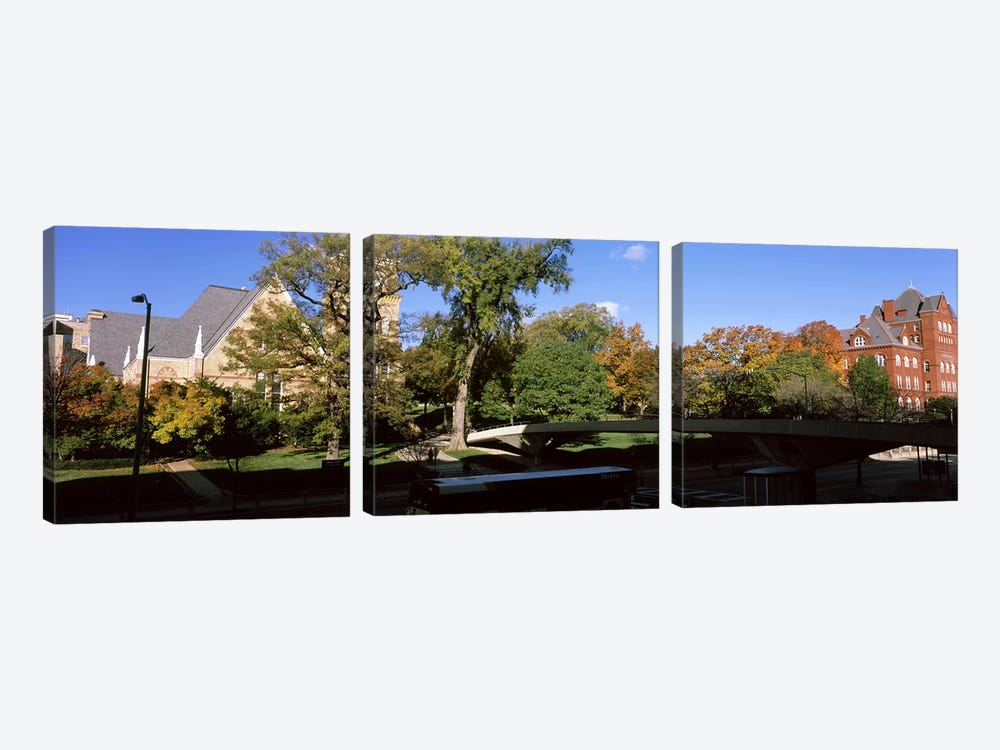 Bridge in front of a university, Music and Science Hall, Park Street, University of Wisconsin, Madison, Dane County, Wisconsin,  by Panoramic Images 3-piece Art Print