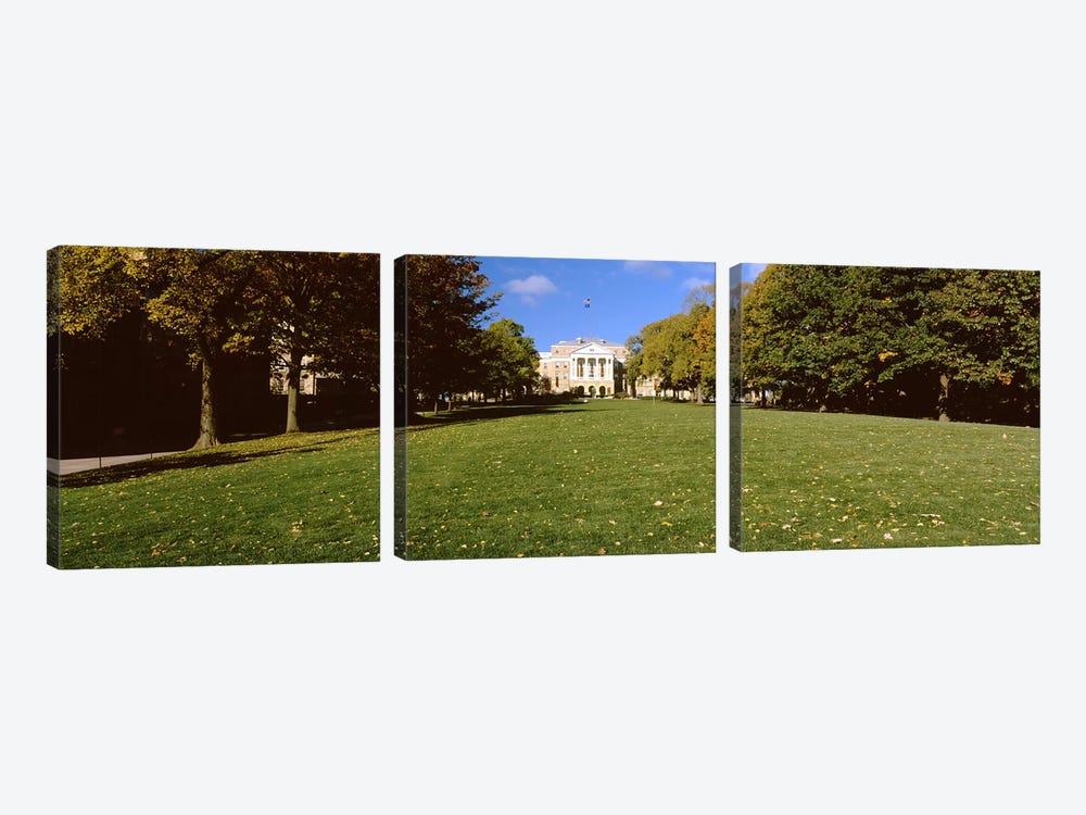 Lawn in front of a building, Bascom Hall, Bascom Hill, University of Wisconsin, Madison, Dane County, Wisconsin, USA by Panoramic Images 3-piece Canvas Wall Art