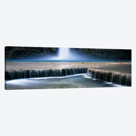 View Of Mooney Falls And Its Pool Water Cascading Over Travertine Terraces, Havasu Canyon, Havasupai Indian Reservation Canvas Print #PIM7195} by Panoramic Images Canvas Artwork