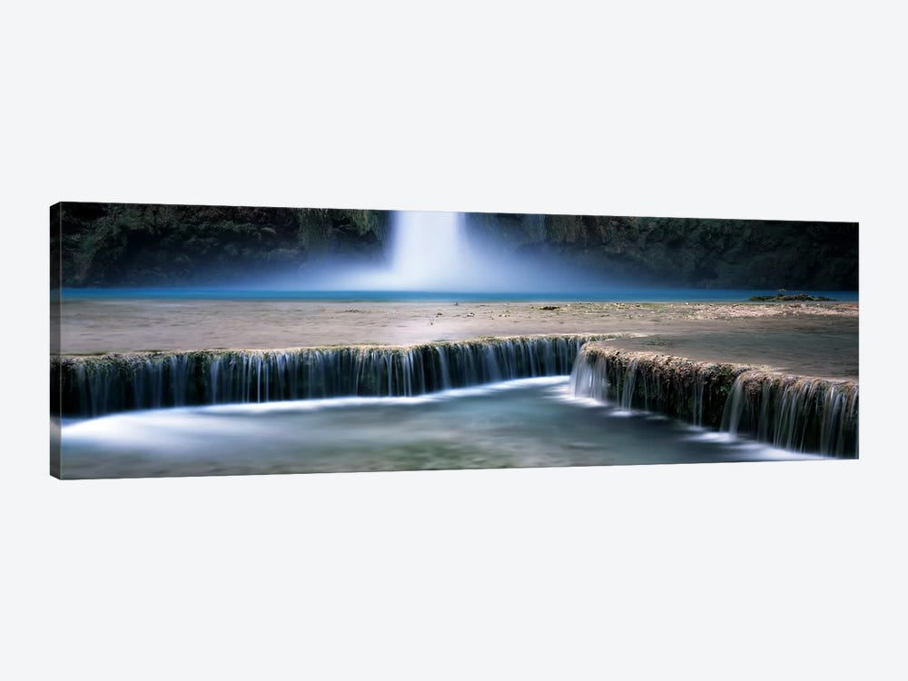 View Of Mooney Falls And Its Pool Water Cascading Over Travertine Terraces, Havasu Canyon, Havasupai Indian Reservation by Panoramic Images 1-piece Canvas Print