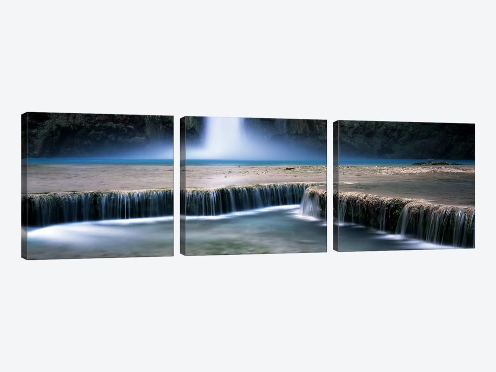 View Of Mooney Falls And Its Pool Water Cascading Over Travertine Terraces, Havasu Canyon, Havasupai Indian Reservation by Panoramic Images 3-piece Canvas Art Print