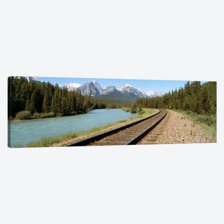 Railroad Tracks Bow River Alberta Canada Canvas Print #PIM719} by Panoramic Images Canvas Artwork