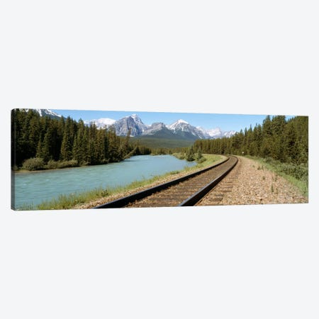 Railroad Tracks Bow River Alberta Canada Canvas Print #PIM719} by Panoramic Images Canvas Artwork