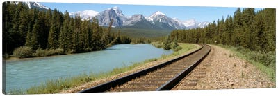 Railroad Tracks Bow River Alberta Canada Canvas Art Print