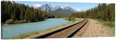 Railroad Tracks Bow River Alberta Canada Canvas Print #PIM719