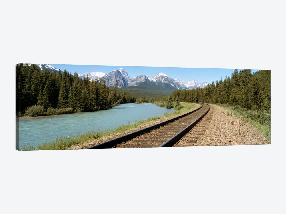 Railroad Tracks Bow River Alberta Canada by Panoramic Images 1-piece Canvas Print