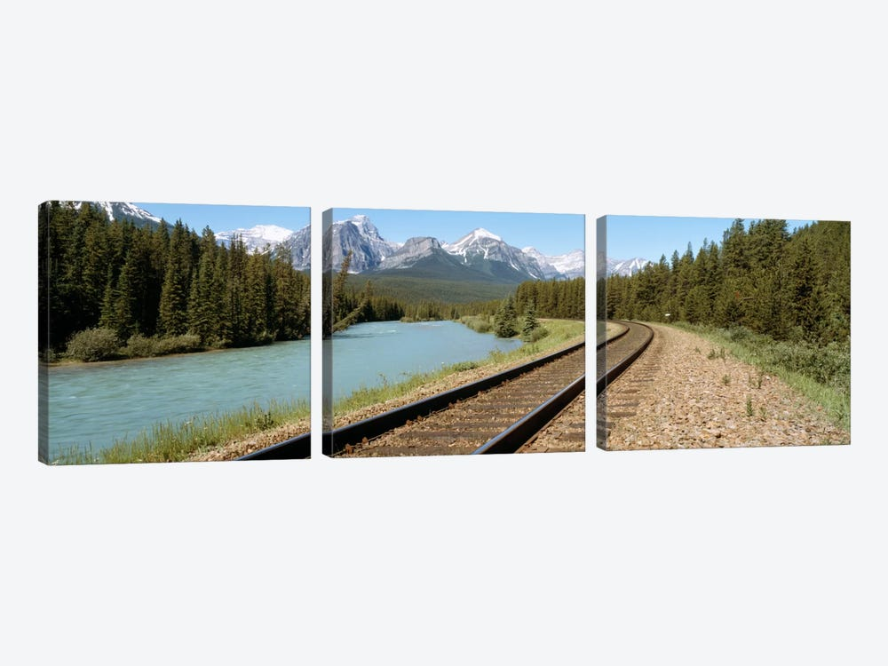 Railroad Tracks Bow River Alberta Canada by Panoramic Images 3-piece Canvas Art Print