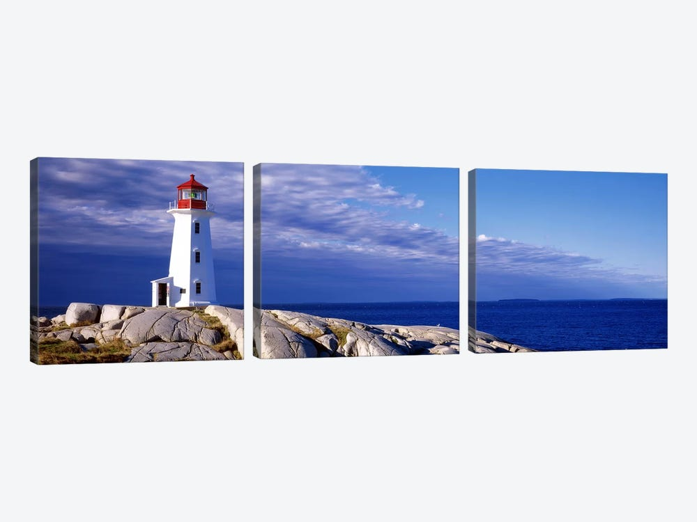 Low Angle View Of A Lighthouse, Peggy's Cove, Nova Scotia, Canada by Panoramic Images 3-piece Canvas Print