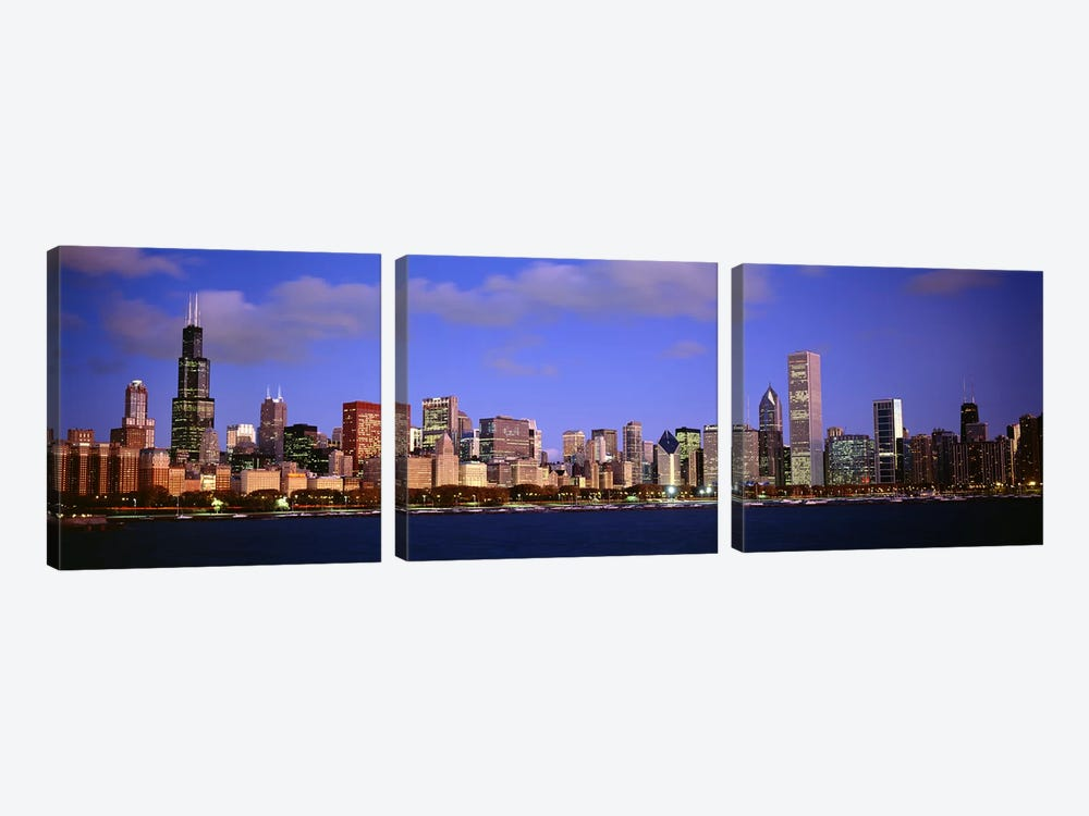 Downtown Skyline At Dusk, Chicago, Cook County, Illinois, USA 3-piece Canvas Art