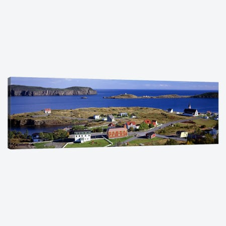 Buildings at the coast, Trinity Bay, Trinity, Newfoundland Island, Newfoundland and Labrador Province, Canada Canvas Print #PIM7202} by Panoramic Images Canvas Print