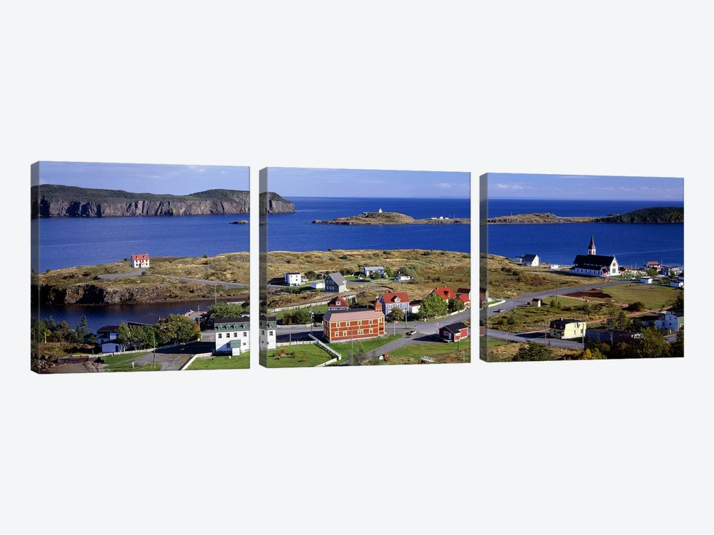 Buildings at the coast, Trinity Bay, Trinity, Newfoundland Island, Newfoundland and Labrador Province, Canada by Panoramic Images 3-piece Canvas Print
