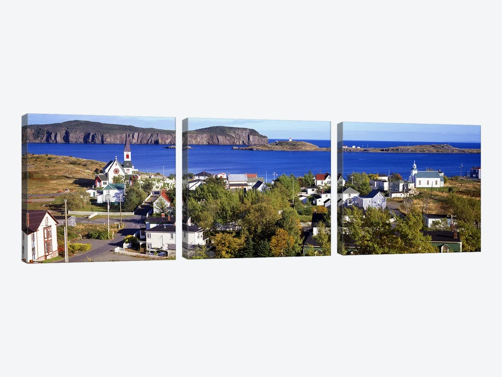 Buildings at the coast, Trinity Bay, Trinity, Newfoundland Island, Newfoundland and Labrador Province, Canada #2 by Panoramic Images 3-piece Canvas Artwork