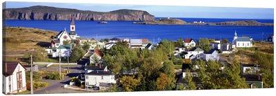 Buildings at the coast, Trinity Bay, Trinity, Newfoundland Island, Newfoundland and Labrador Province, Canada #2 Canvas Art Print