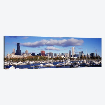 Boats docked at Burnham HarborChicago, Illinois, USA Canvas Print #PIM7217} by Panoramic Images Art Print