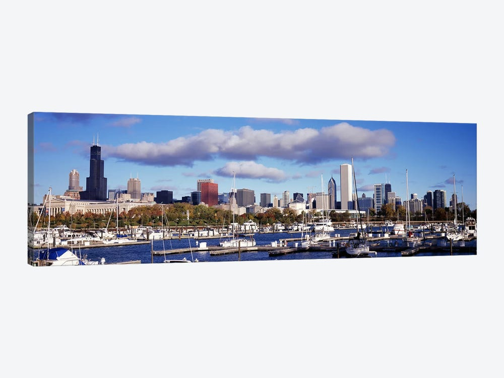 Boats docked at Burnham HarborChicago, Illinois, USA by Panoramic Images 1-piece Canvas Art Print