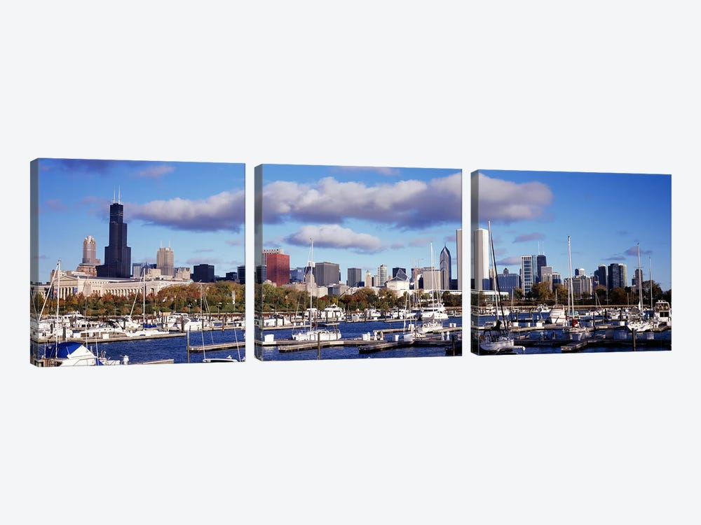 Boats docked at Burnham HarborChicago, Illinois, USA by Panoramic Images 3-piece Art Print