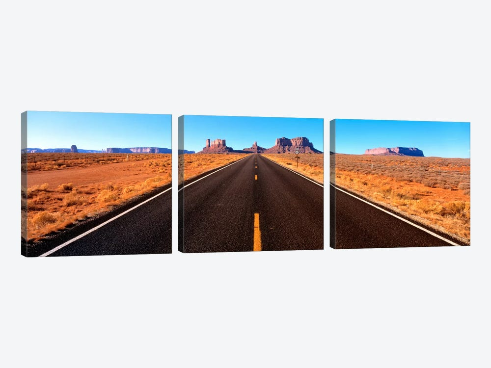 View Of Monument Valley From U.S. Route 163, Navajo Nation, Utah, USA by Panoramic Images 3-piece Canvas Art