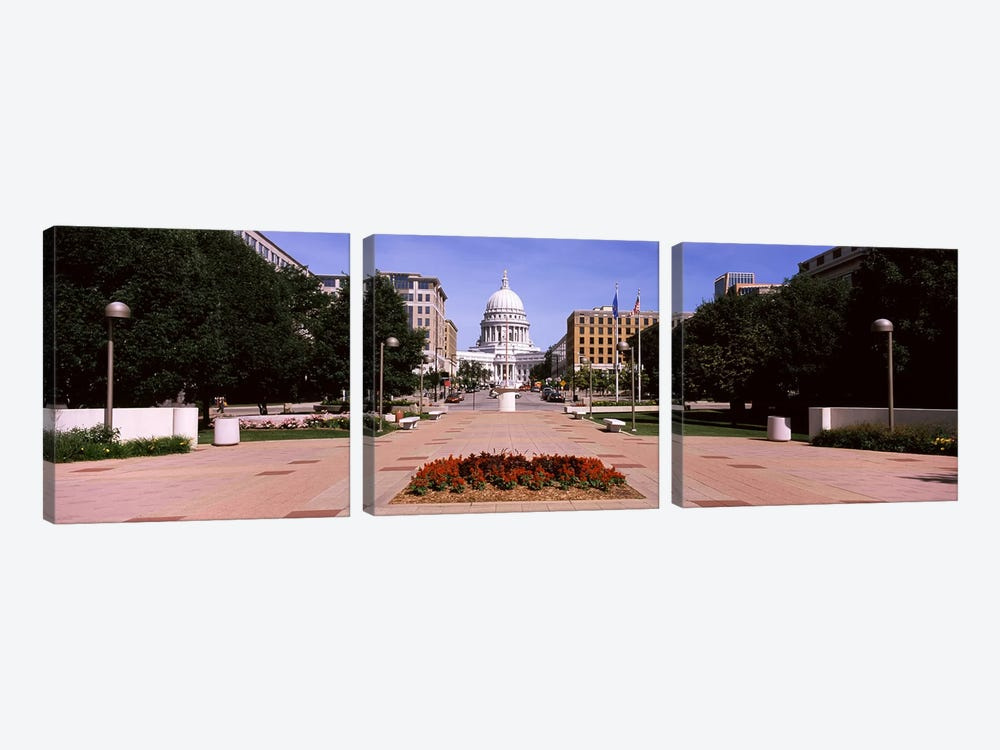Footpath leading toward a government buildingWisconsin State Capitol, Madison, Wisconsin, USA by Panoramic Images 3-piece Canvas Print