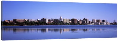 Buildings at the waterfront, Lake Monona, Madison, Dane County, Wisconsin, USA Canvas Art Print