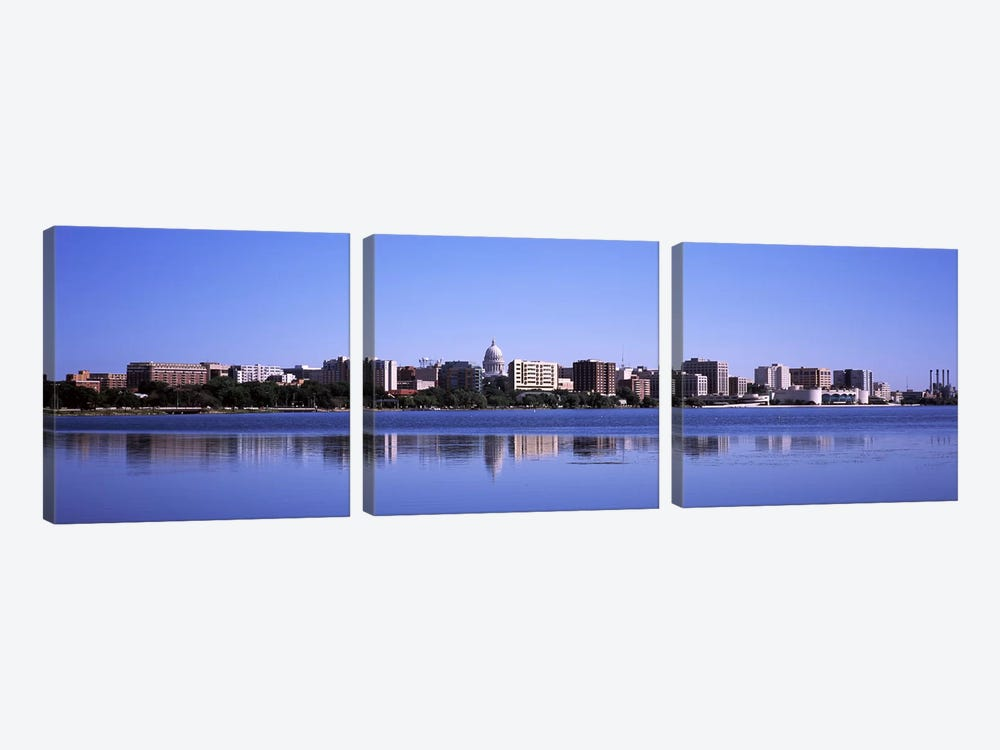 Buildings at the waterfront, Lake Monona, Madison, Dane County, Wisconsin, USA by Panoramic Images 3-piece Canvas Artwork