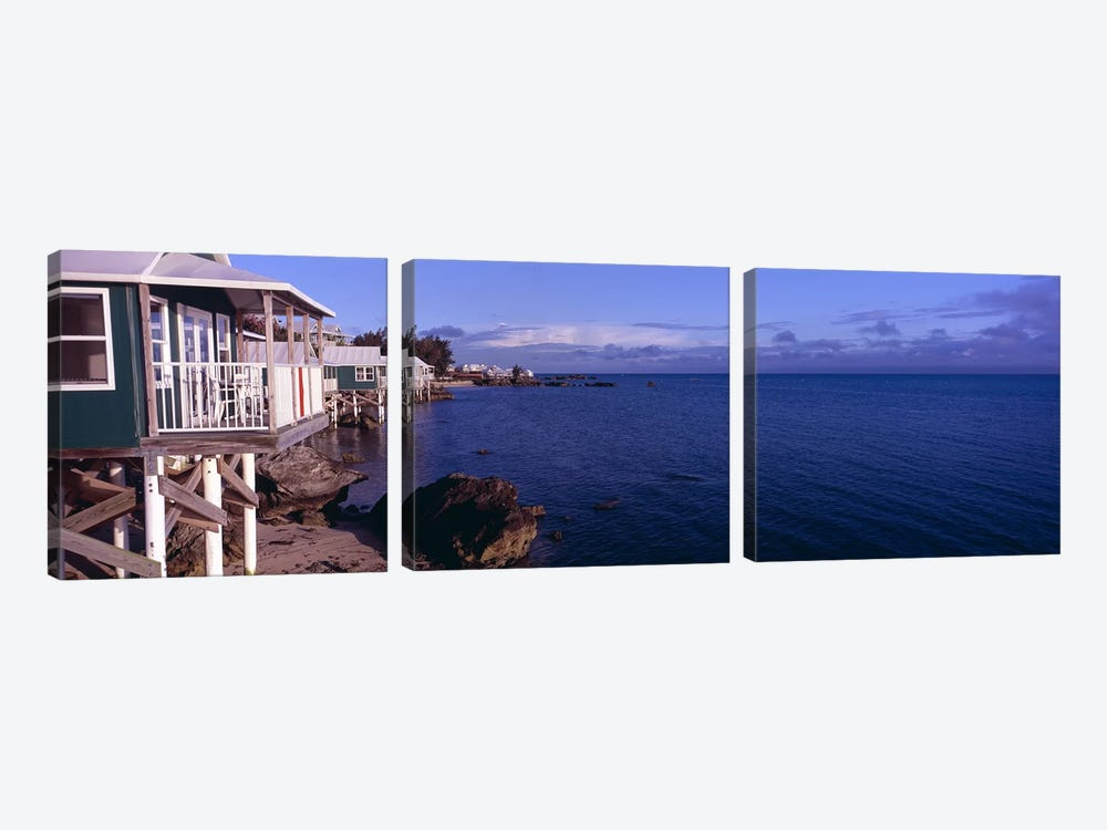 Cabanas on the beachBermuda by Panoramic Images 3-piece Canvas Art Print