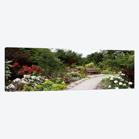 Bench in a gardenOlbrich Botanical Gardens, Madison, Wisconsin, USA Canvas Print #PIM7238} by Panoramic Images Canvas Wall Art