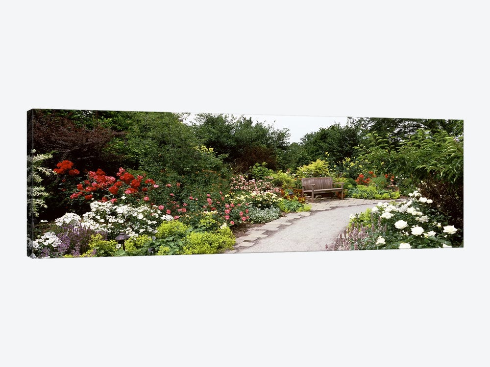 Bench in a gardenOlbrich Botanical Gardens, Madison, Wisconsin, USA by Panoramic Images 1-piece Canvas Art