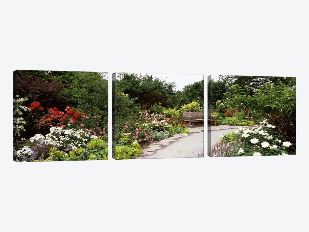 Bench in a gardenOlbrich Botanical Gardens, Madison, Wisconsin, USA by Panoramic Images 3-piece Canvas Artwork