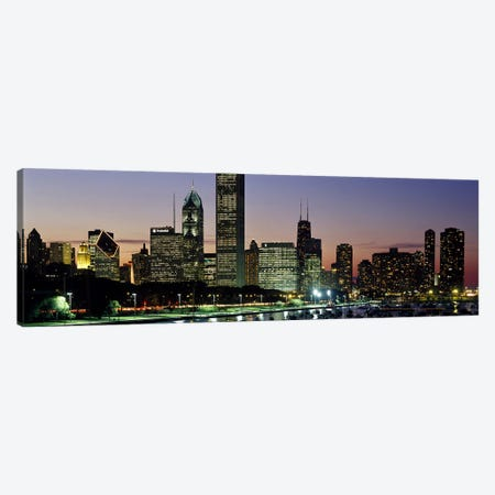 Buildings lit up at duskLake Michigan, Chicago, Cook County, Illinois, USA Canvas Print #PIM7242} by Panoramic Images Art Print