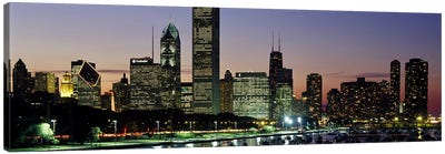 Buildings lit up at duskLake Michigan, Chicago, Cook County, Illinois, USA Canvas Print #PIM7242