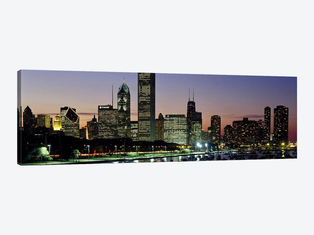 Buildings lit up at duskLake Michigan, Chicago, Cook County, Illinois, USA 1-piece Art Print