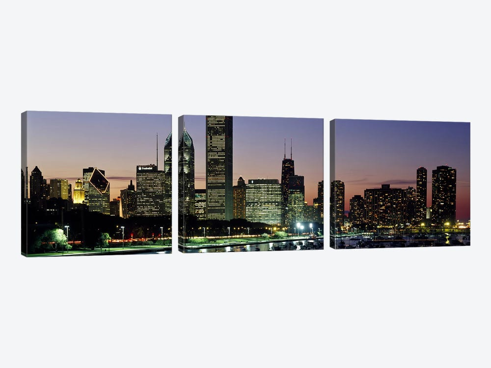 Buildings lit up at duskLake Michigan, Chicago, Cook County, Illinois, USA by Panoramic Images 3-piece Art Print