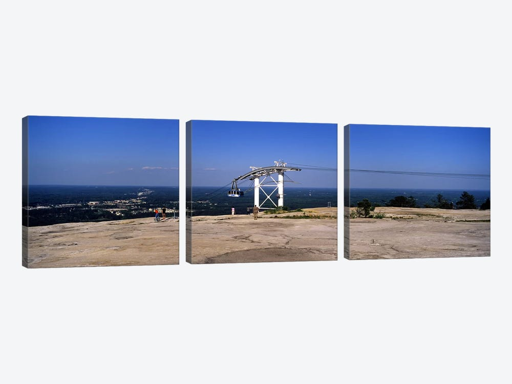 Overhead cable car on a mountain, Stone Mountain, Atlanta, Georgia, USA by Panoramic Images 3-piece Canvas Wall Art