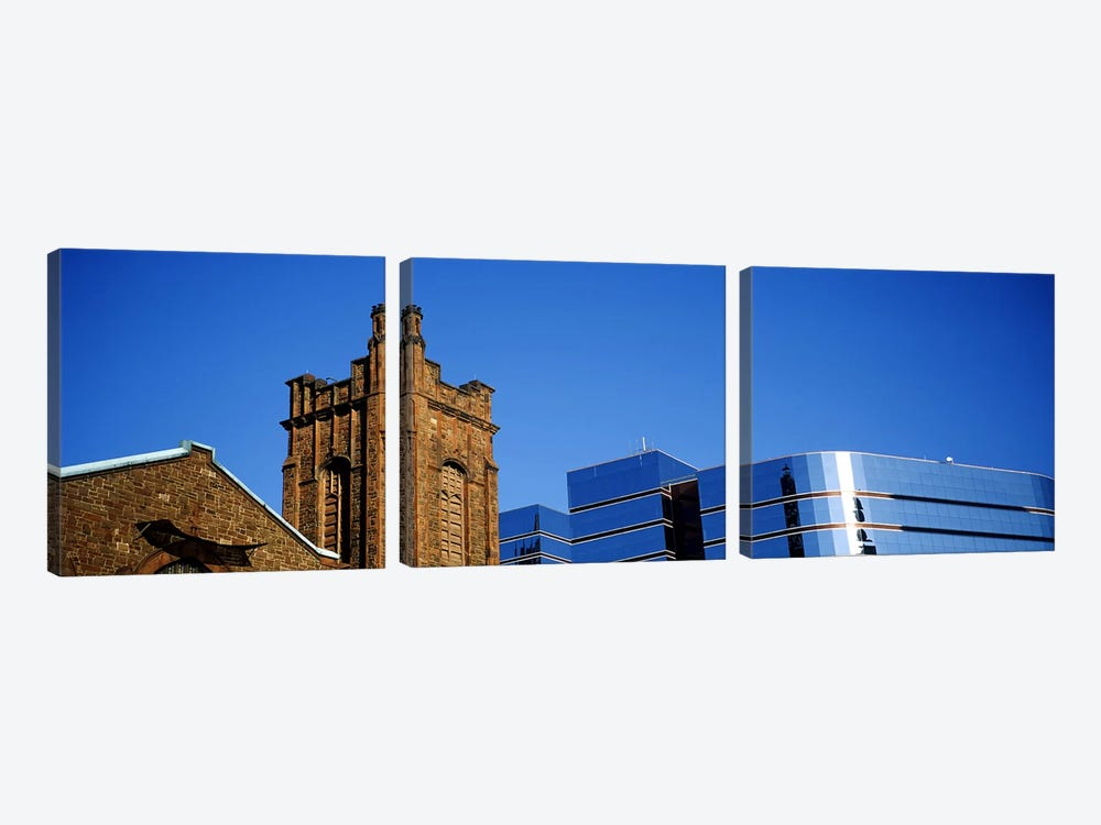 High section view of buildings in a city, Presbyterian Church, Midtown plaza, Atlanta, Fulton County, Georgia, USA by Panoramic Images 3-piece Canvas Artwork