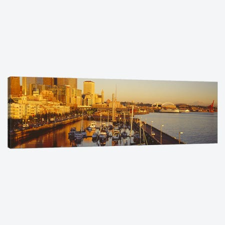 Buildings at the waterfront, Elliott Bay, Bell Harbor Marina, Seattle, King County, Washington State, USA Canvas Print #PIM7274} by Panoramic Images Canvas Print