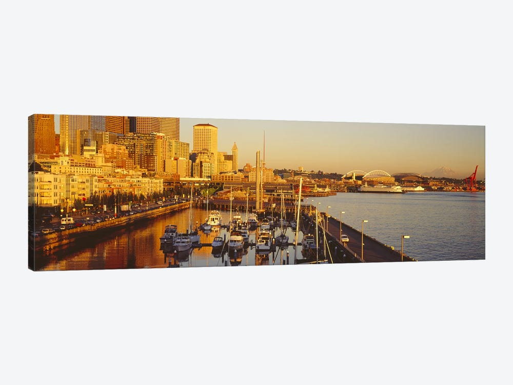 Buildings at the waterfront, Elliott Bay, Bell Harbor Marina, Seattle, King County, Washington State, USA by Panoramic Images 1-piece Canvas Art