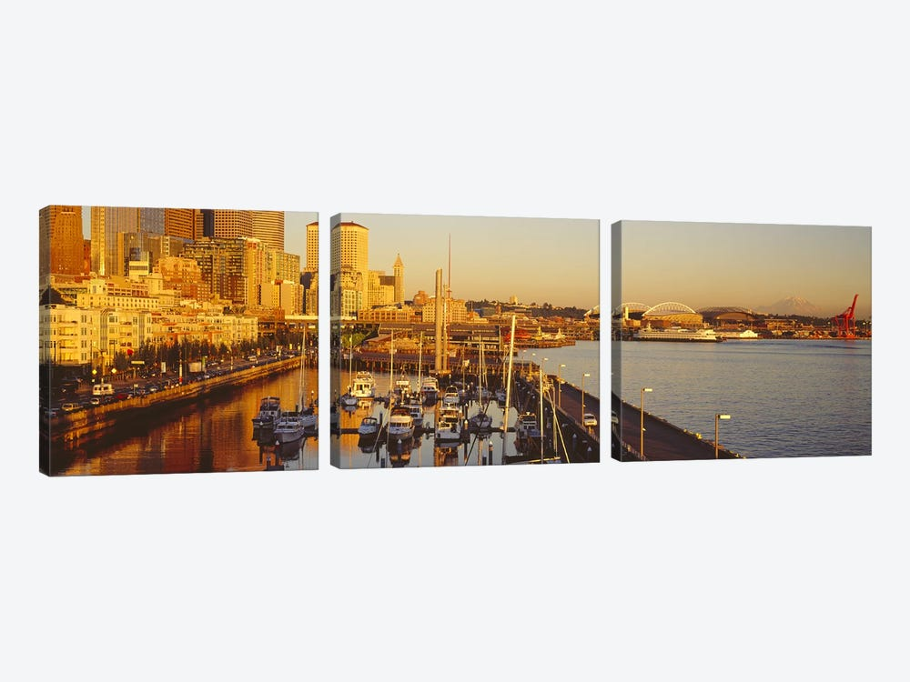 Buildings at the waterfront, Elliott Bay, Bell Harbor Marina, Seattle, King County, Washington State, USA by Panoramic Images 3-piece Canvas Wall Art