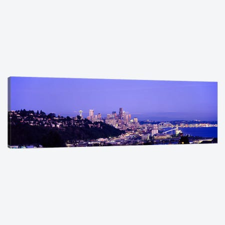 City skyline at dusk, Seattle, King County, Washington State, USA Canvas Print #PIM7275} by Panoramic Images Canvas Art Print