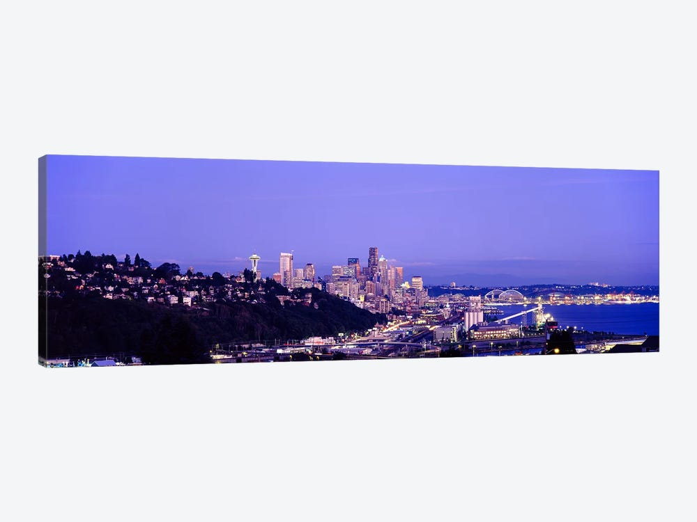 City skyline at dusk, Seattle, King County, Washington State, USA by Panoramic Images 1-piece Art Print