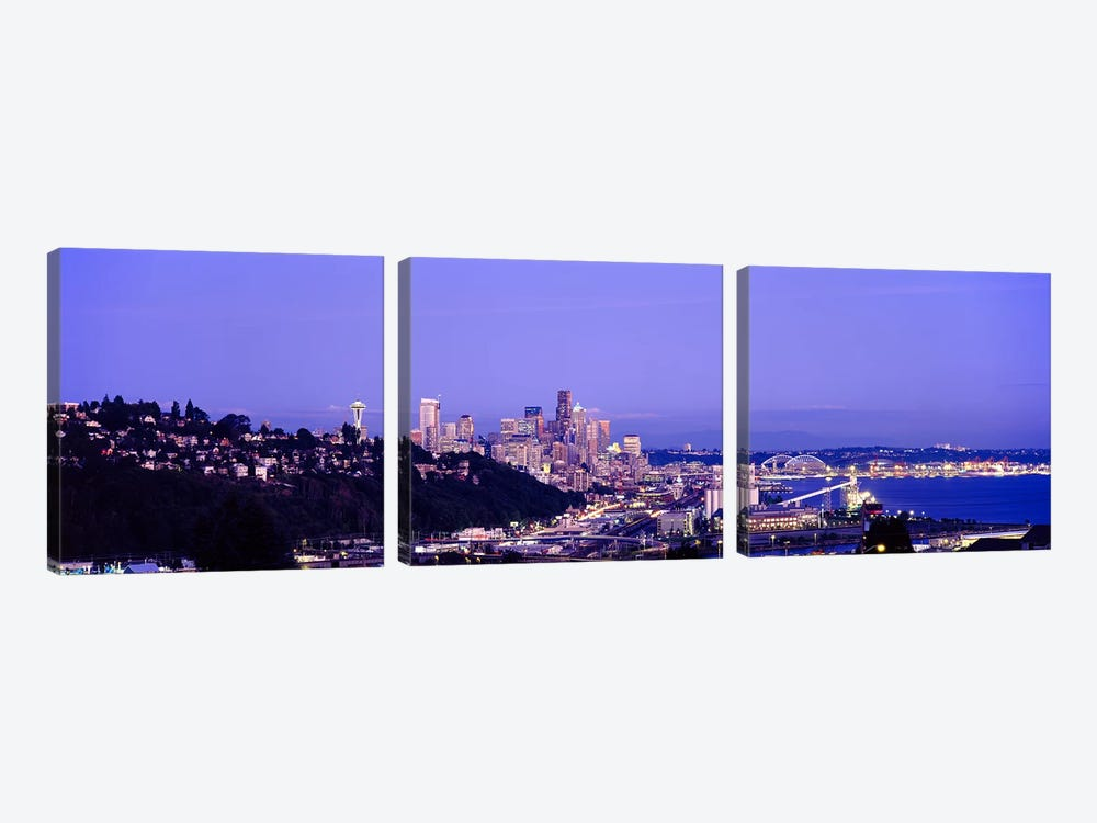 City skyline at dusk, Seattle, King County, Washington State, USA by Panoramic Images 3-piece Canvas Art Print
