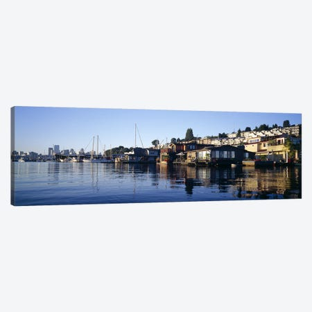 Houseboats in a lake, Lake Union, Seattle, King County, Washington State, USA Canvas Print #PIM7276} by Panoramic Images Canvas Print