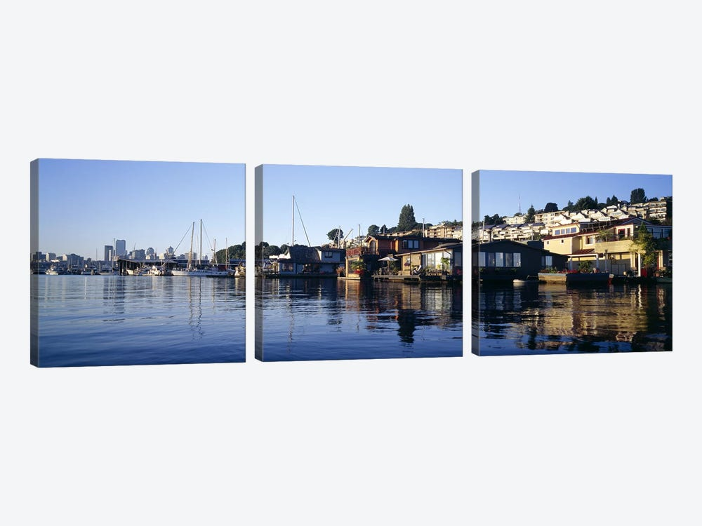 Houseboats in a lake, Lake Union, Seattle, King County, Washington State, USA by Panoramic Images 3-piece Canvas Artwork