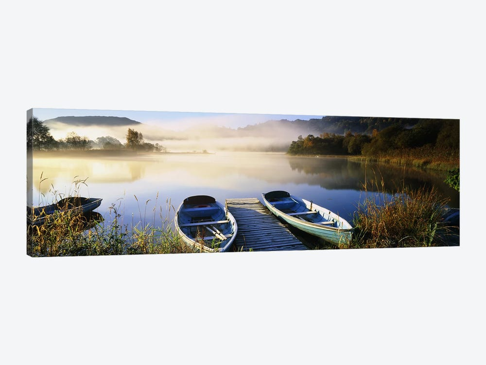 Rowboats at the lakesideEnglish Lake District, Grasmere, Cumbria, England by Panoramic Images 1-piece Canvas Print