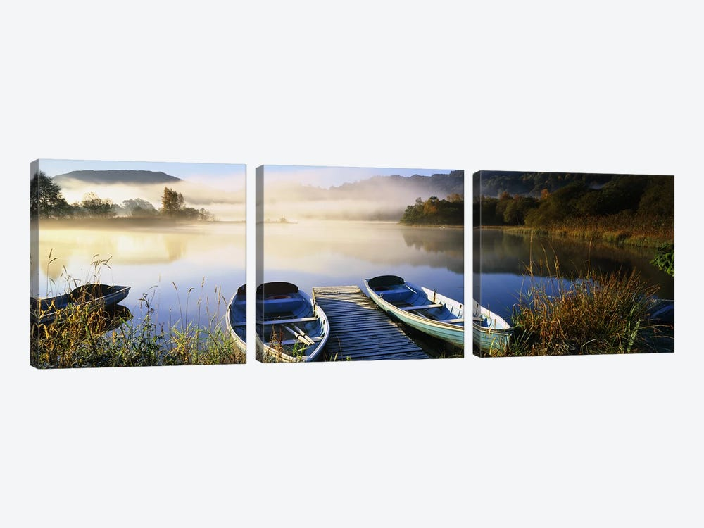 Rowboats at the lakesideEnglish Lake District, Grasmere, Cumbria, England by Panoramic Images 3-piece Art Print