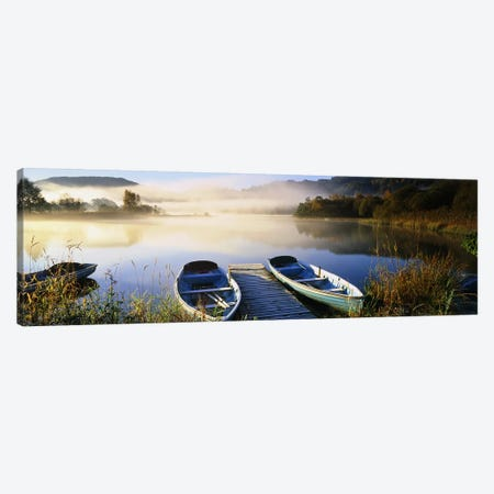 Rowboats at the lakesideEnglish Lake District, Grasmere, Cumbria, England 3-Piece Canvas #PIM7279} by Panoramic Images Canvas Artwork