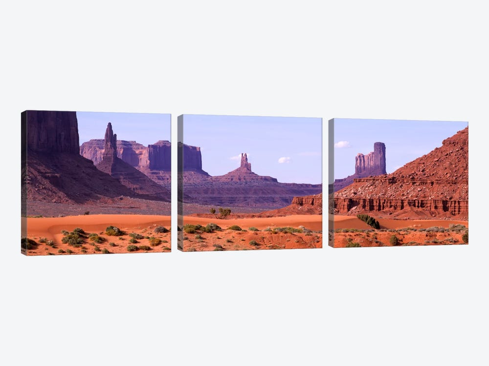 View To Northwest From 1st Marker In The Valley, Monument Valley, Arizona, USA,  by Panoramic Images 3-piece Canvas Artwork