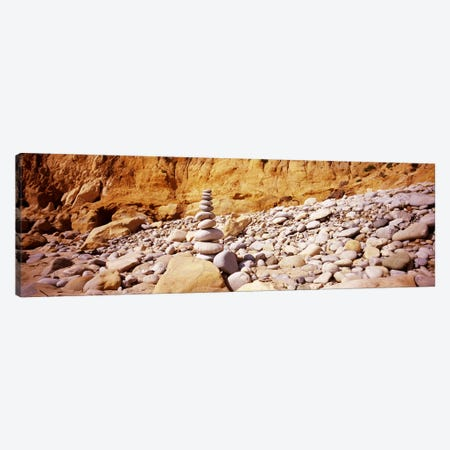 Stack of stones on the beach, California, USA Canvas Print #PIM7281} by Panoramic Images Canvas Art Print