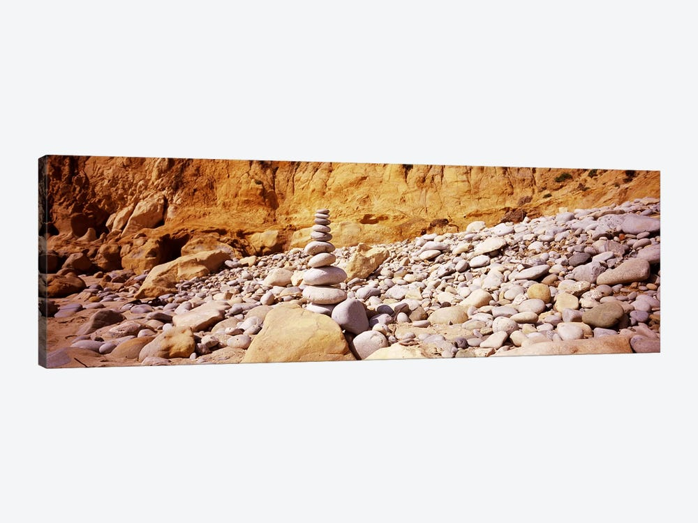 Stack of stones on the beach, California, USA by Panoramic Images 1-piece Canvas Artwork