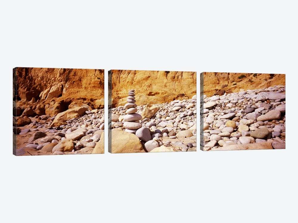 Stack of stones on the beach, California, USA by Panoramic Images 3-piece Canvas Art