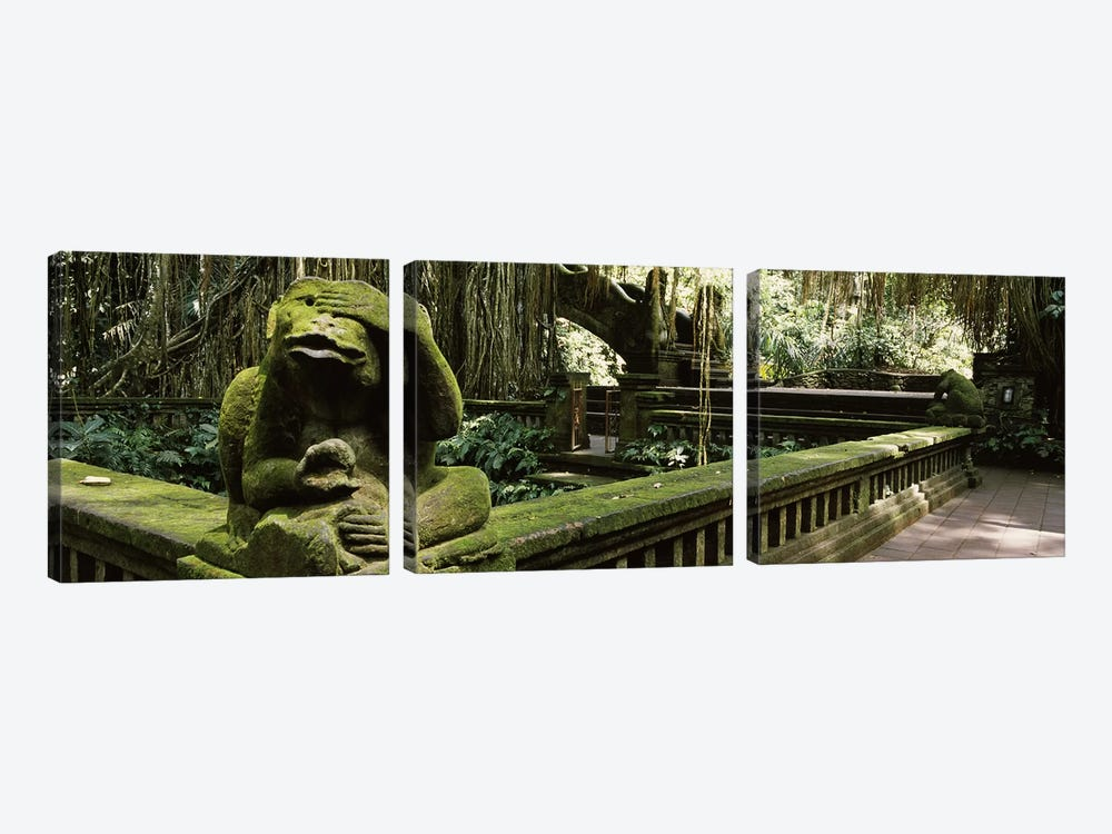 Statue of a monkey in a temple, Bathing Temple, Ubud Monkey Forest, Ubud, Bali, Indonesia by Panoramic Images 3-piece Canvas Art Print